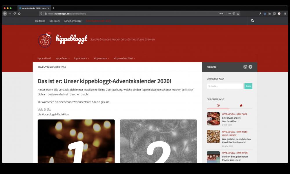 Screenshot der weihnachtlichen kippebloggt-Seite