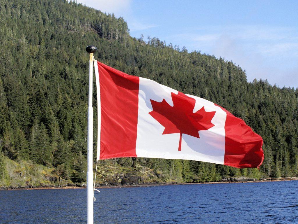 Die kanadische Flagge mit einem Wald im Hintergrund